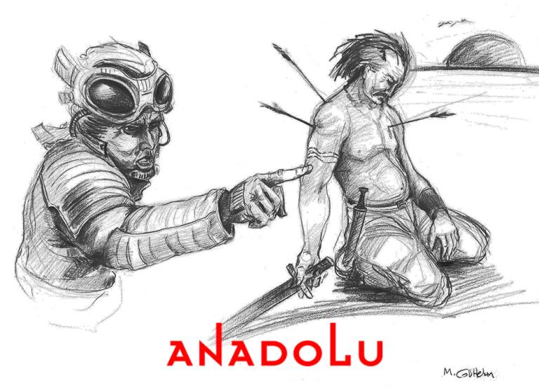Karakalem İmgesel Yaralanan Adam Çizimi Çanakkalede