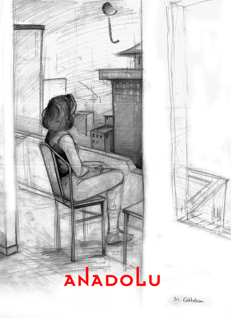 İmgesel Balkonda Oturan Kadın Çalışması Çanakkalede