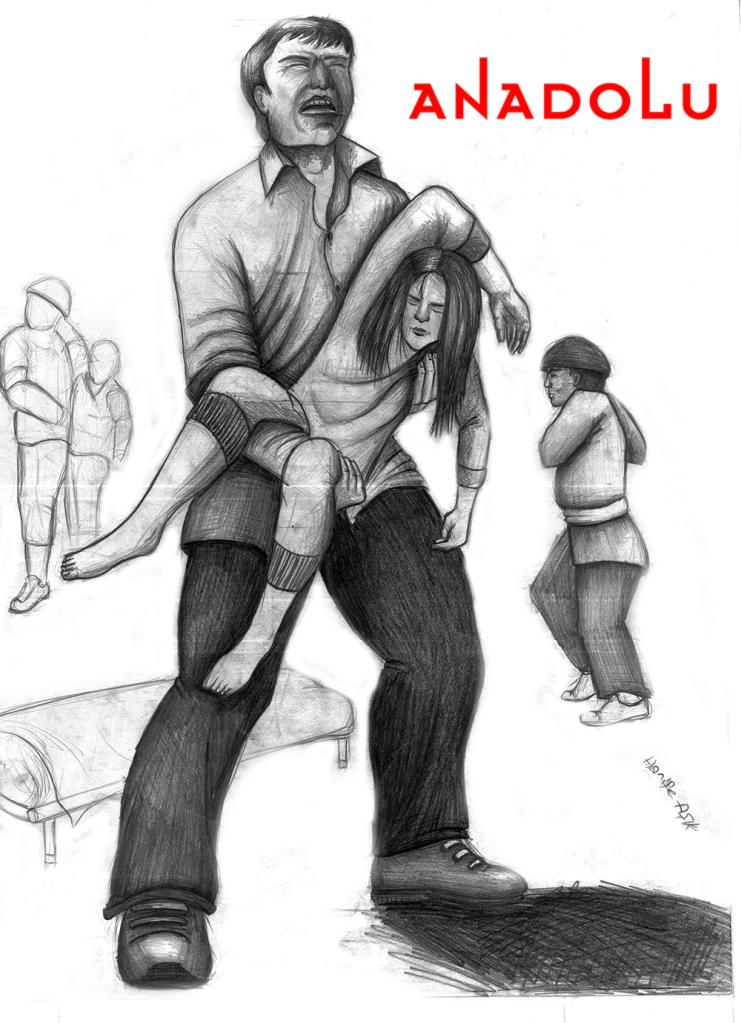 Çanakkalede karakalem babası ve kızı