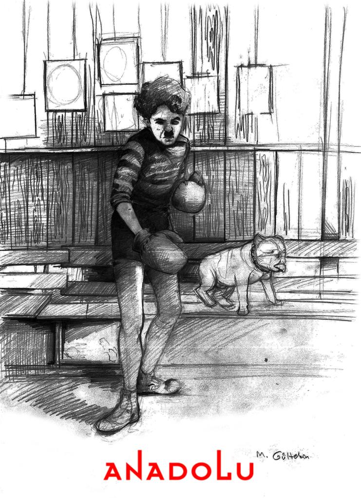 karakalem Charlie Chaplin Çizimleri Çanakkalede