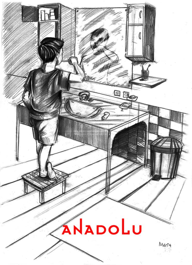 Karakalem Diş Fırçalayın Çocuk Çizimleri Çanakkalede