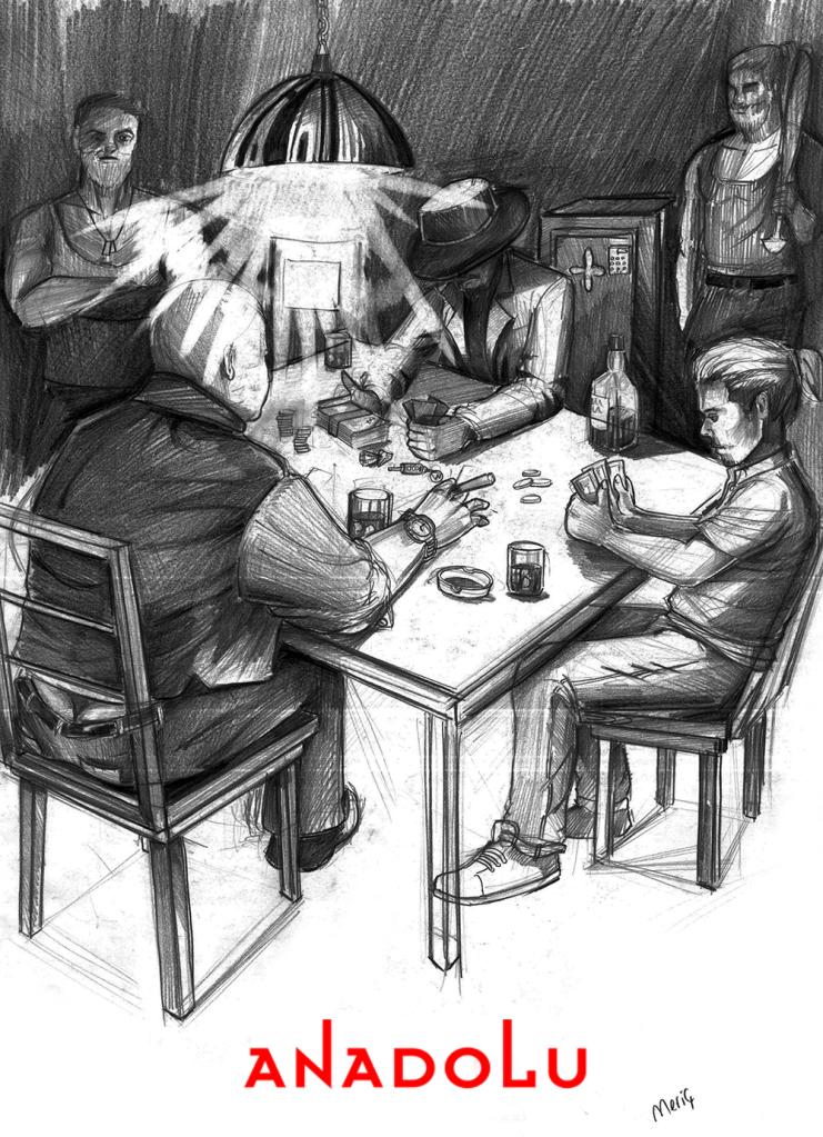 İmgesel karakalem kahvede oyun oynayanlar Çanakkalede