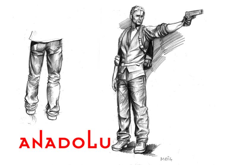Karakalem Silahlı Atış Yapan İnsan Çizimleri Çanakkalede