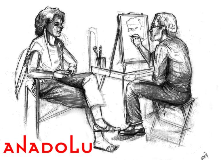 Çanakkalede Karakalem Çizim Çalışması