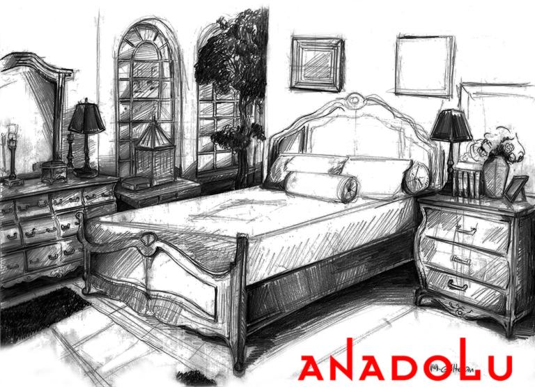 Çanakkalede Bir Yatak Odası Çizimleri