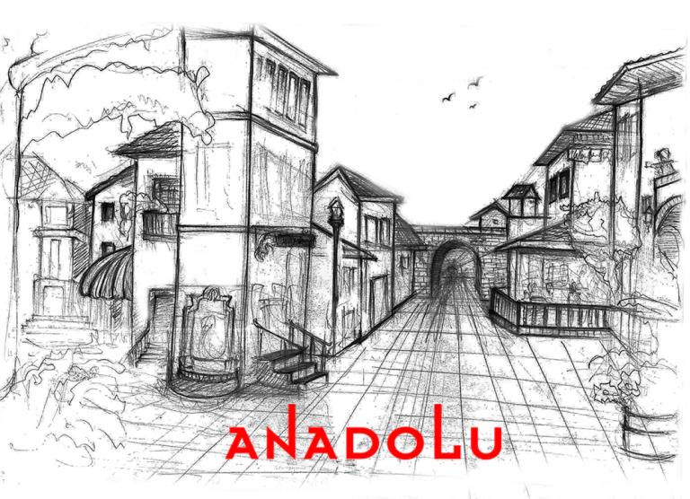Karakalem Bir Sokak İmgesel Çizim Örneği Çanakkalede